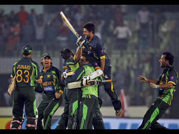 A file picture of Pakistan players celebrating a win