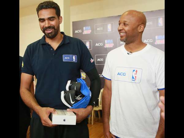 Palpreet Singh (left), winner, is seen with NBA Champion Brian Shaw at Jaypee Greens Sports Complex on February 25