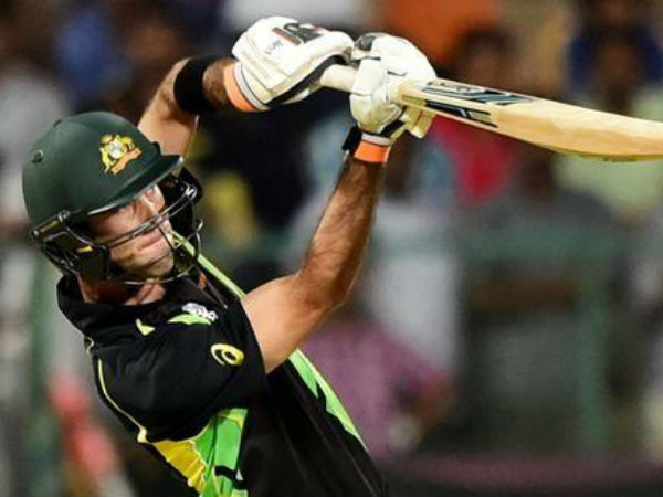 Glenn Maxwell plays a shot against Bangladesh