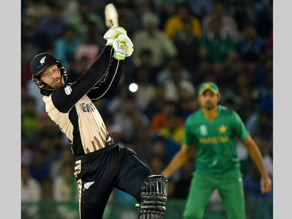 Martin Guptill plays a shot against Pakistan in Mohali