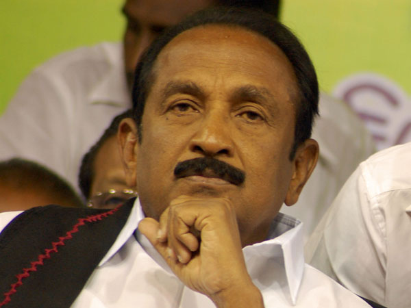 Angered by question, Vaiko walks out of a TV interview.