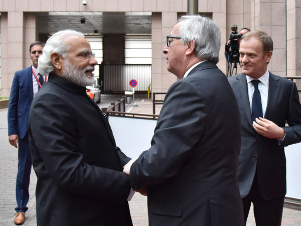 PM Modi with European Council president in Brussels