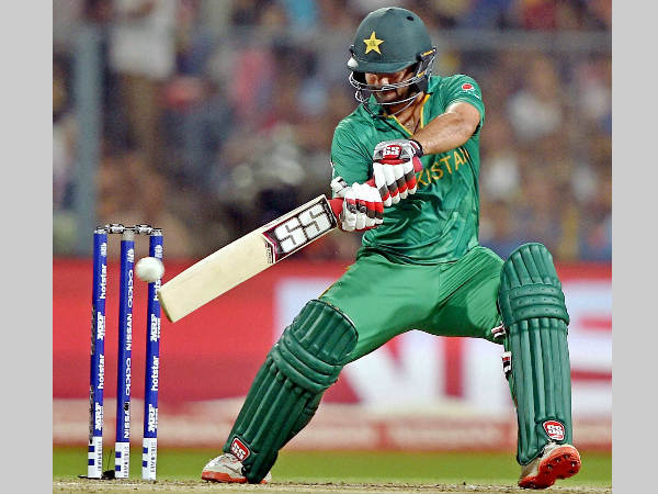 Ahmed Shehzad plays a shot against India during their World T20 match in Kolkata on March 19