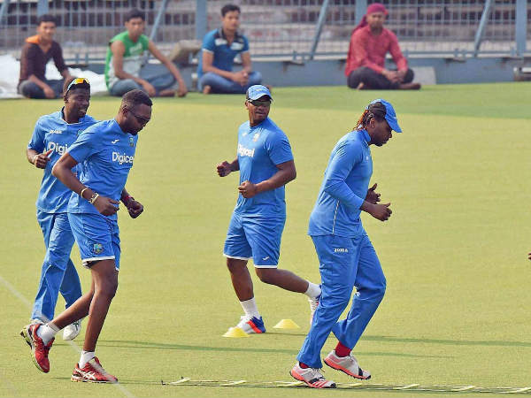 West Indies players train at Kolkata's Eden Gardens on Tuesday (March 8)
