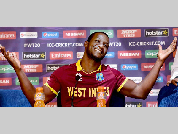 Darren Sammy reacts during a press conference in Kolkata on Tuesday ahead of World T20