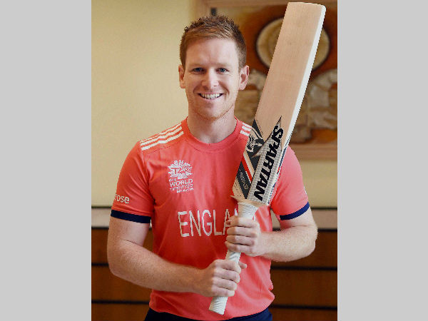 England captain Eoin Morgan poses for photographers before a World T20 press conference in Mumbai on March 9