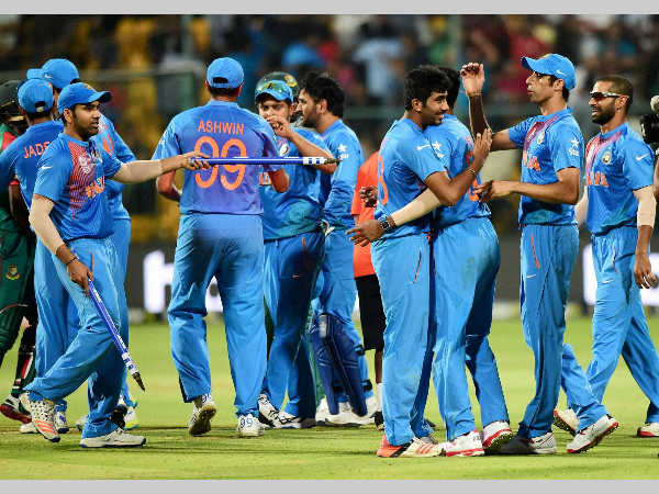 Indian players celebrate their victory over Bangladesh in Bengaluru