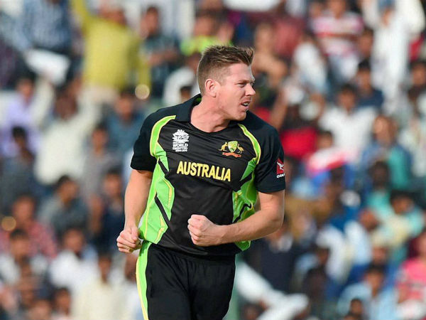James Faulkner reacts after taking a wicket against Pakistan during their WT20 game in Mohali. He took 5 wickets