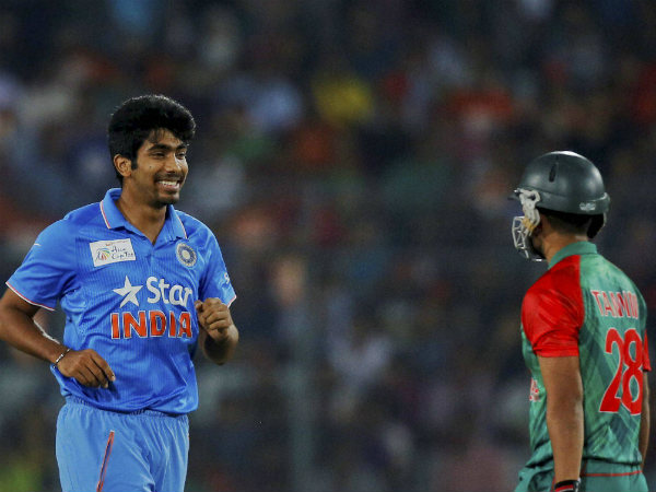 Bumrah (left) gets the wicket of Tamim (right)