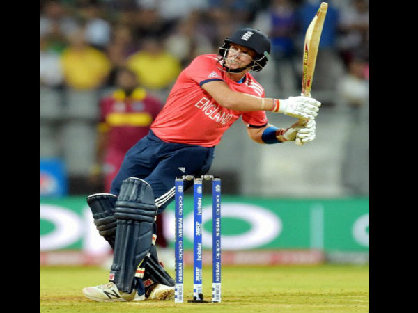 England player Joe Root Plays A Shot During The ICC T20 World Cup Match Played Against West Indies In Mumbai