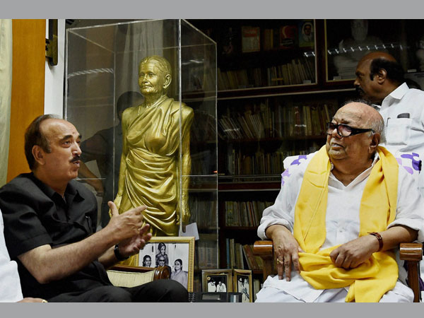 Congress leader Ghulam Nabi Azad meeting with DMK Chief M Karunanidhi at his residence in Chennai on Friday.