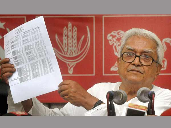 biman bose during the release of Left's 1st candidate list