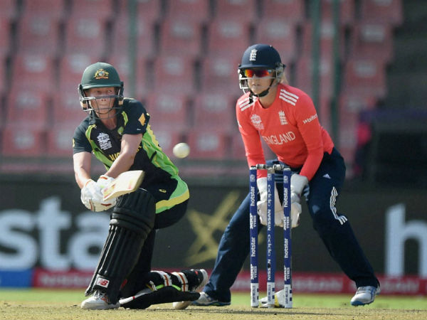 Australia's captain Meg Lanning plays a shot against England during their World T20 semi-final