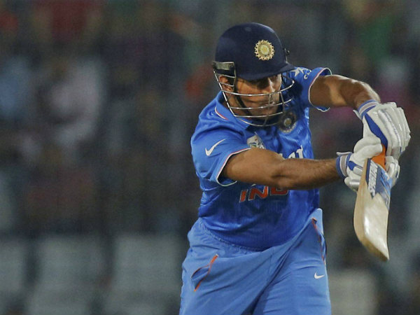 Dhoni plays a shot in the Asia Cup final