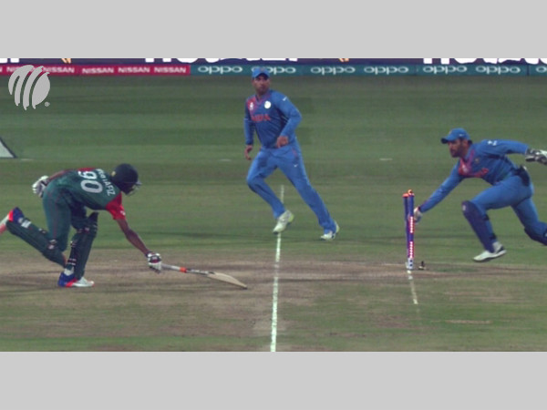 India's famous run out in T20Is. Dhoni catches Rahman short of his crease in World T20