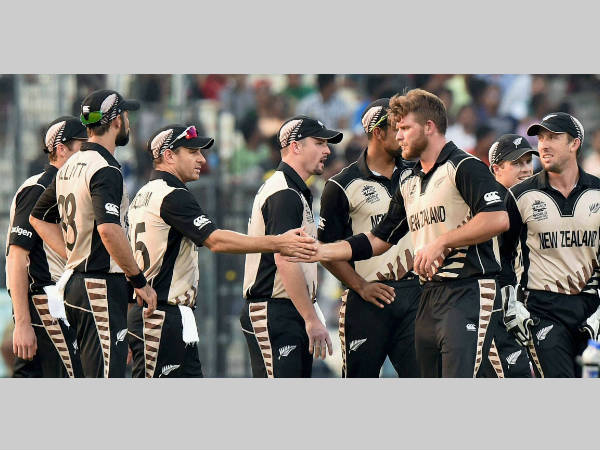 New Zealand players celebrate a wicket during the World T20