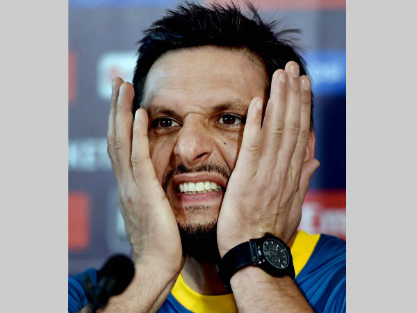 File photo: Shahid Afridi gestures during a World T20 press conference in Kolkata on Sunday (March 13)