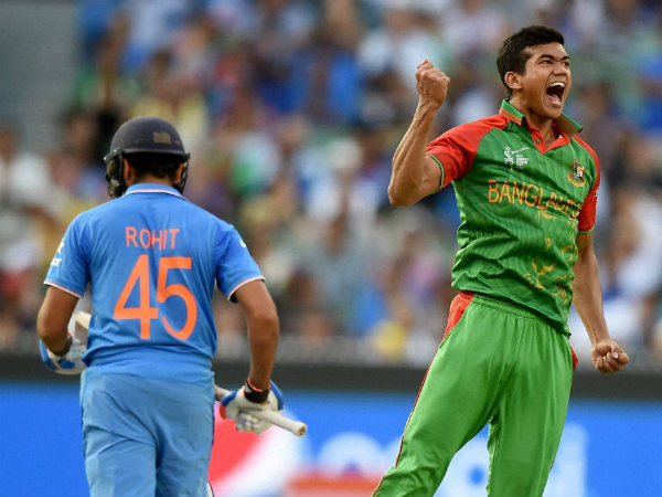 File photo: Taskin Ahmed (right) celebrates a wicket