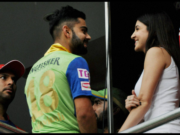 From left: Yuvraj Singh, Virat Kohli and Anushka Sharma during an IPL game in May 2015 in Bengaluru