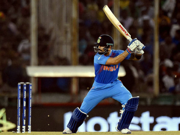 Virat Kohli plays a shot against Australia in World T20 in Mohali