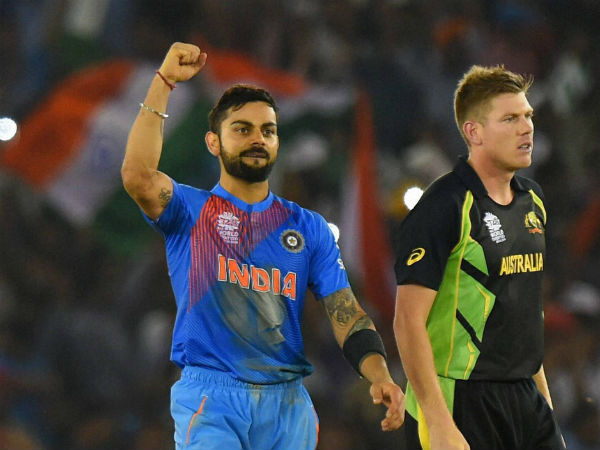 Kohli (left) celebrates after guiding India to victory