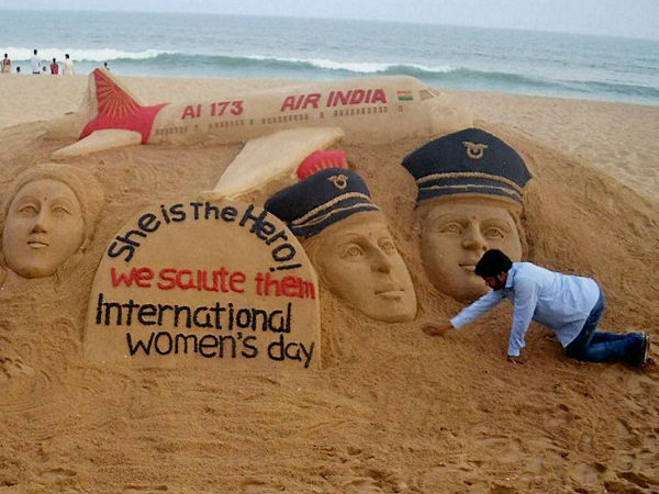 Sand artist Sudarsan Pattnaik has created a sand sculpture on the eve of International Women's Day.