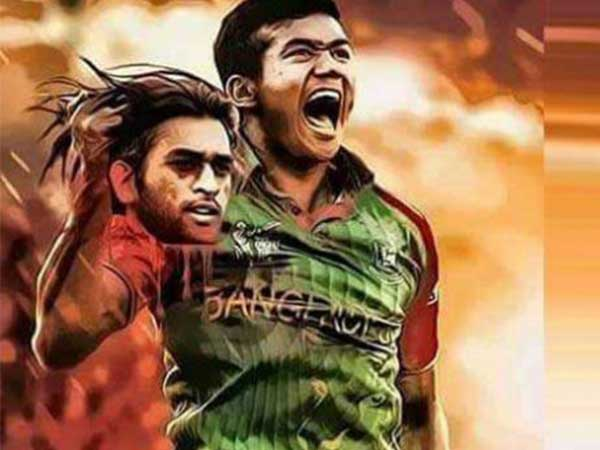 Morphed pic of Taskin holding MS Dhoni's severed head.