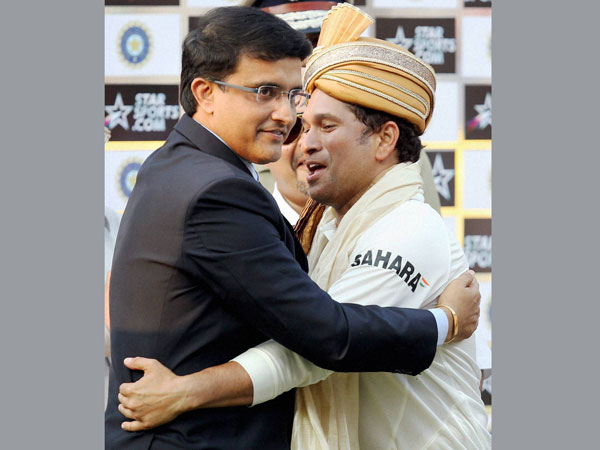 File photo: Sachin Tendulkar (right) hugs Sourav Ganguly after he was felicitated at Eden Gardens in 2013