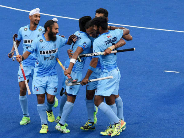 File photo of Indian players celebrating a goal during Sultan Azlan Shah Cup