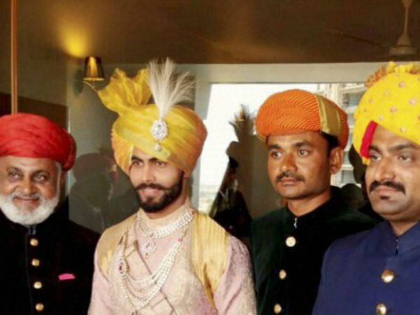 Ravindra Jadeja with his relatives during his wedding ceremony