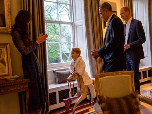 Prince George with his rocking horse