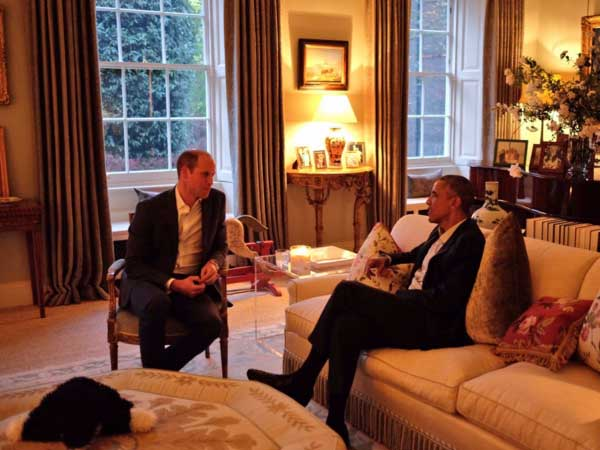 Prince William and Barack Obama speak to each other