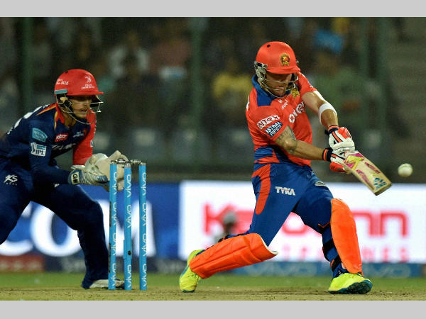 Gujarat's Brendon McCullum plays a shot on way to 60 against Delhi
