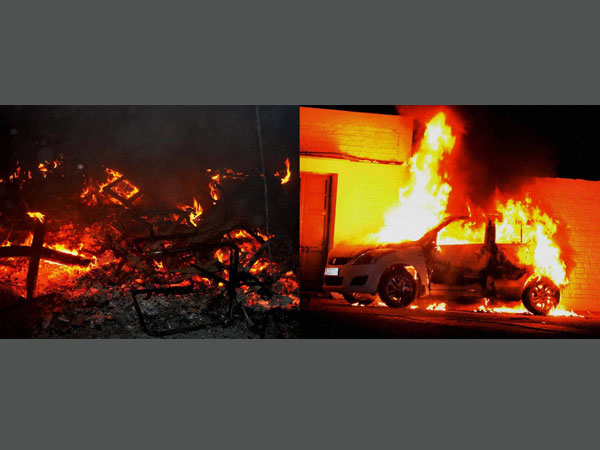 Mob torched a car and set afire the proctor's office building after a former student was killed and one other injured during clashes between two groups at Aligarh Muslim University campus in Aligarh on Saturday.