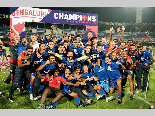 File picture: Bengaluru FC players and support staff celebrate their I-League victory in 2016