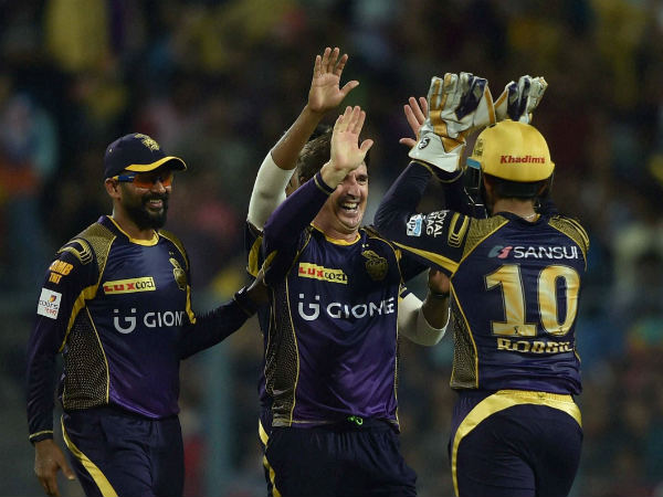 KKR players celebrate a wicket against Mumbai Indians in their IPL 2016 opening game on April 13 in Kolkata