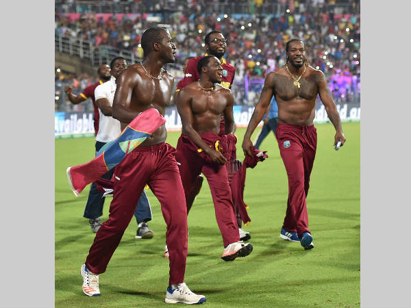 West Indies players celebrate their World T20 title win in Kolkata on April 3