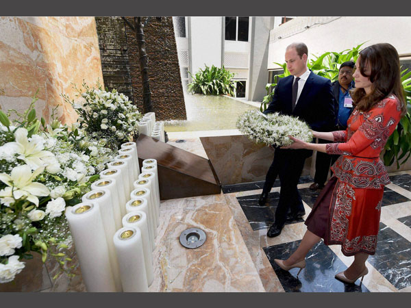 Prince William, Duke of Cambridge and Catherine, Duchess of Cambridge during the wreath laying ceremony on the martyrs memorial at Taj Mahal Palace Hotel in Mumbai on Sunday.