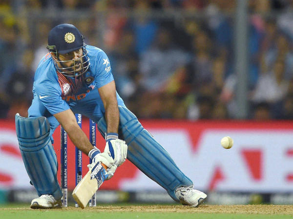 MS Dhoni plays an unorthodox shot during India's World T20 semi-final against West Indies