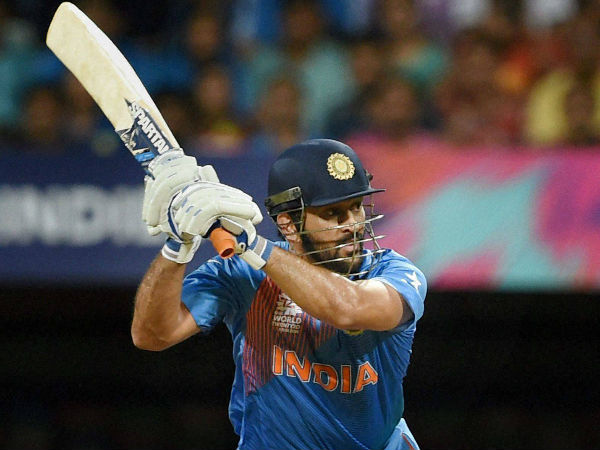 MS Dhoni plays a shot against West Indies in the World T20 semi-final
