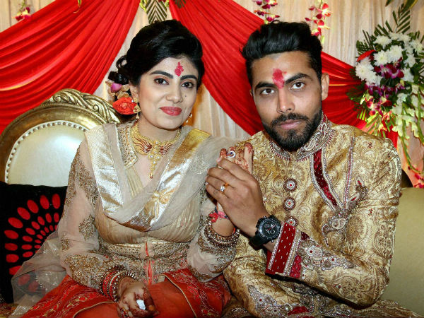 Jadeja and Riva during their engagement ceremony recently