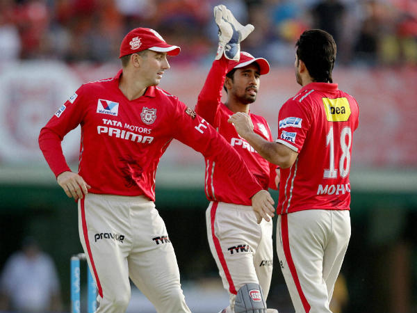 Kings XI Punjab players celebrate during a match in IPL 2016