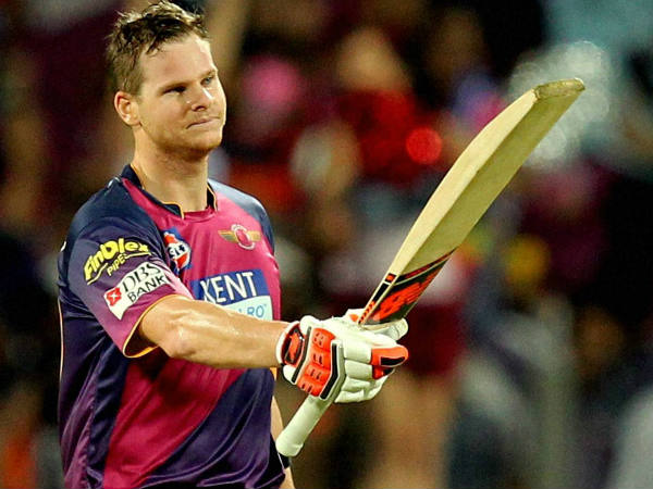 Pune's Steve Smith celebrates his century against Gujarat on Friday (April 29)