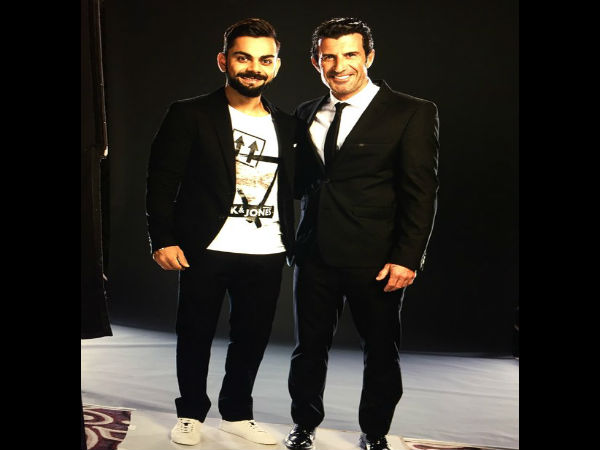 Virat Kohli with football legend Luis Figo