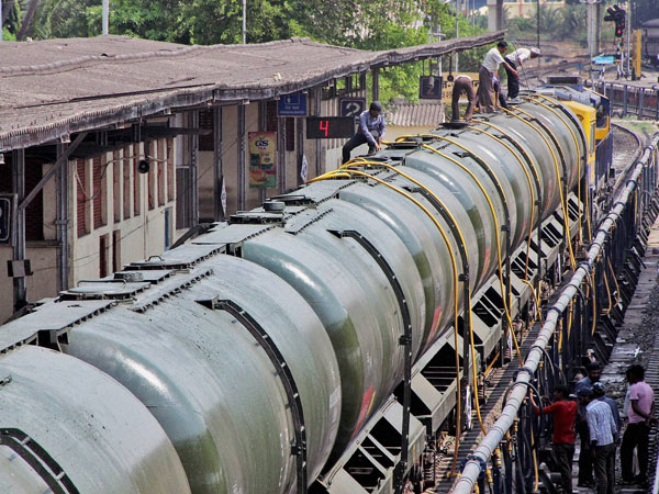 Workers fill water in Central Railway train tanks to transport to drought affected Latur District from Miraj station near Sangli.
