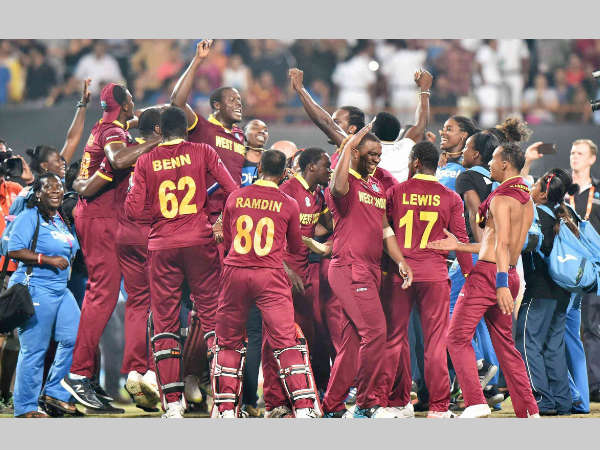 West Indies' men and women players celebrate their World T20 wins