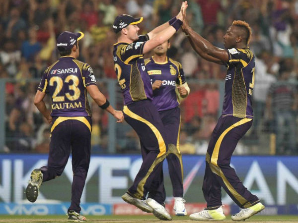 KKR Bowler Andre Russell Reacts During An IPL Match Against Delhi Daredevils At Eden Garden In Kolkata