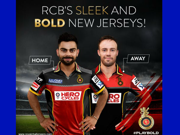 Virat Kohli and AB de Villiers in RCB's new jersey.