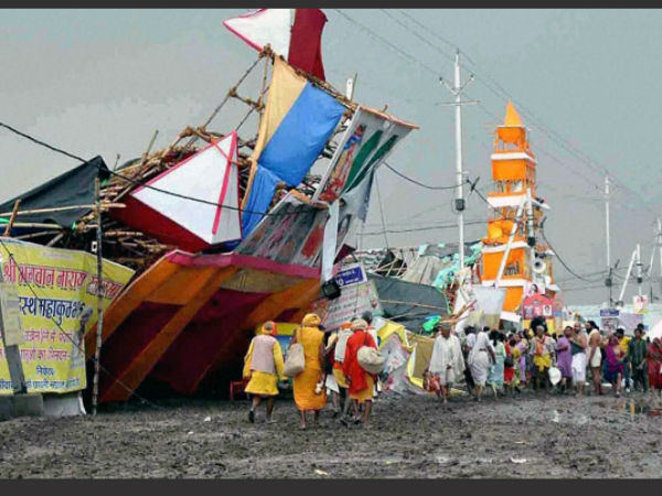 Damaged pandals after heavy rains, storm in Ujjain