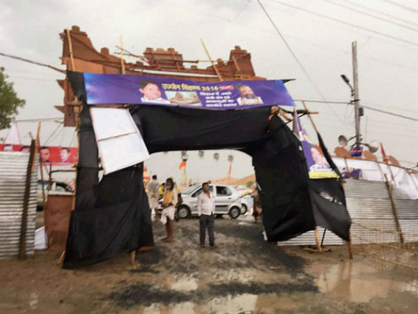 Pandal collapsed after heavy thunderstorm in Ujjain kumbh
